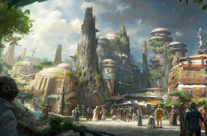 Star Wars-Themed Lands Coming to Disney Parks - Walt Disney Company Chairman and CEO Bob Iger announced at D23 EXPO 2015 that Star Wars-themed lands will be coming to Disneyland park in Anaheim, Calif., and Disney's Hollywood Studios in Orlando, Fla., creating Disney's largest single-themed land expansions ever at 14-acres each, transporting guests to a never-before-seen planet, a remote trading port and one of the last stops before wild space where Star Wars characters and their stories come to life. These authentic lands will have two signature attractions, including the ability to take the controls of one of the most recognizable ships in the galaxy, the Millennium Falcon, on a customized secret mission, and an epic Star Wars adventure that puts guests in the middle of a climactic battle. (Disney Parks)