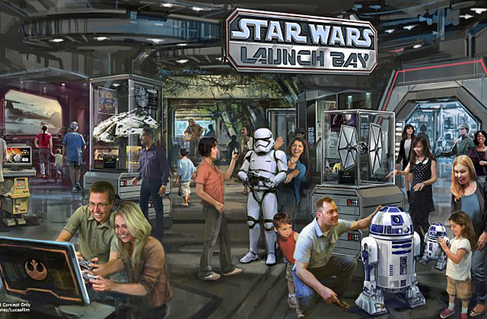 Star Wars Launch Bay Coming to Disneyland Resort and Walt Disney World Resort -- This interactive experience will take guests into the upcoming film, Star Wars: The Force Awakens, with special exhibits and peeks behind the scenes, including opportunities to visit with favorite Star Wars characters, special merchandise and food offerings. Star Wars Launch Bay will be located in the Animation Courtyard at Disney's Hollywood Studios and in Tomorrowland at Disneyland Park. (Disney Parks)