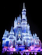 ICE CASTLE: Shimmering lights illuminate Cinderella Castle in Magic Kingdom during the holidays at Walt Disney World Resort in Lake Buena Vista, Fla. The Magic Kingdom icon is bathed in more than 200,000 tiny white lights that add a special sparkle to the season. (Gene Duncan, photographer)