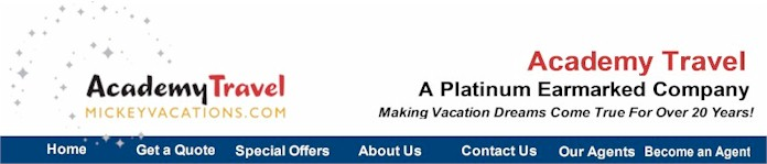 Academy Travel - Authorized Disney Vacation Planner.  Acdemy Travel has been designated as a Platinum Earmarked Travel Ageny by the Walt Disney Travel Company