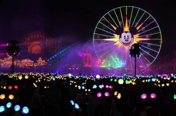 "Disneyland Resort Adds Dazzling, New Nighttime Spectaculars for Its Diamond Celebration, Beginning May 22. World of Color"" spectacular in Disney California Adventure"